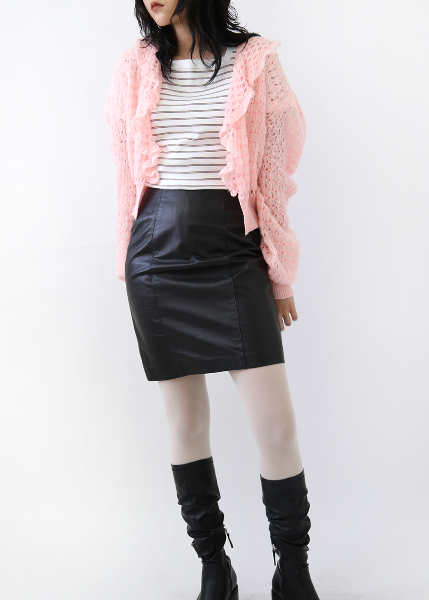BABY PINK SHIRRING CARDIGAN