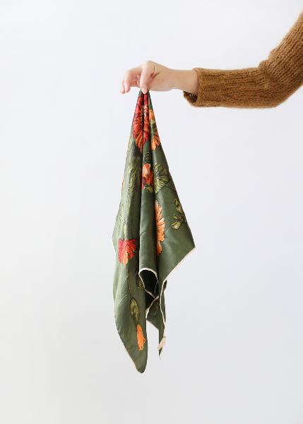 OLIVE GREEN FLOWER SCARF