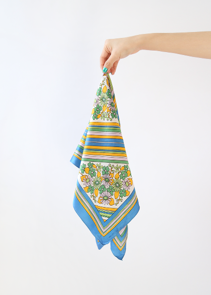 BLUE/YELLOW FLORAL SCARF