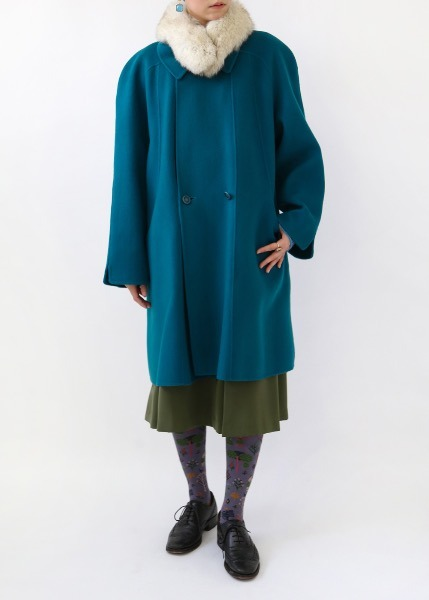 OCEAN BLUE HANDMADE WOOL COAT