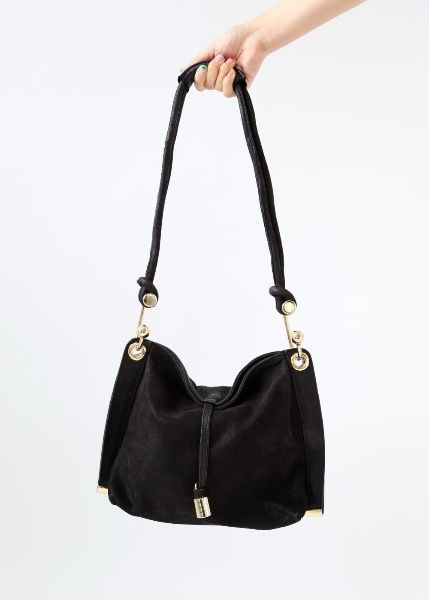 BLACK LEATEHR HOOK BAG