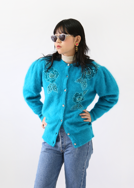 ACUA BLUE BEADED CARDIGAN