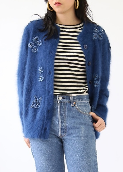 BLUE ANGORA BUTTONS CARDIGAN