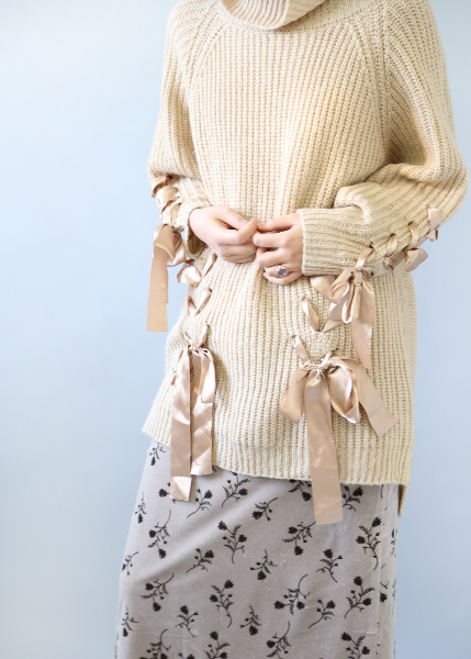 BEIGE RIBBON LONG KNIT