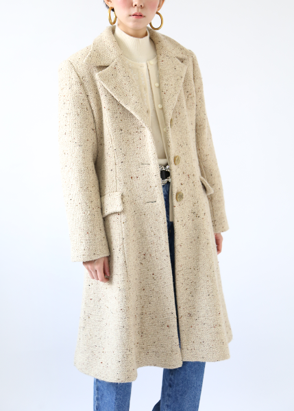 OATMEAL WOOL TAILORED COAT