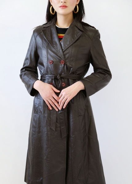 COW HIDE LEATHER TRENCH COAT