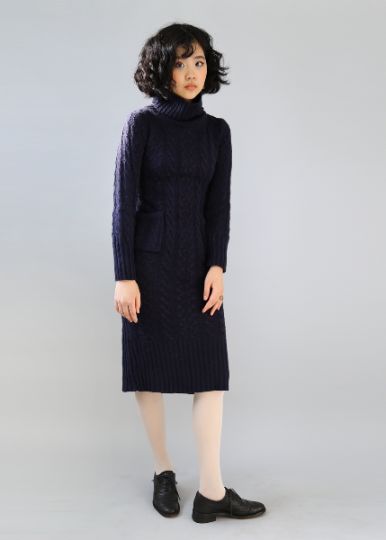 NAVY KNIT RIB DRESS