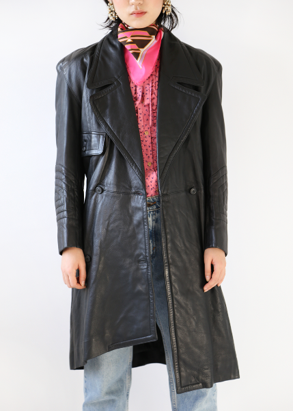 BLACK MOTORCYCLE LONG COAT