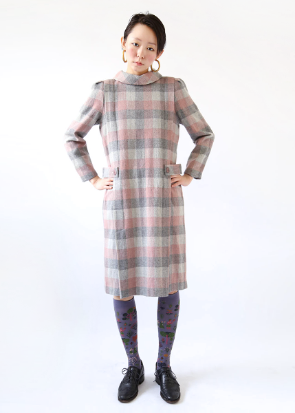 PINK GRAY CHECK DRESS
