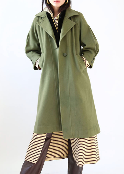 OLIVE GREEN WOOL COAT