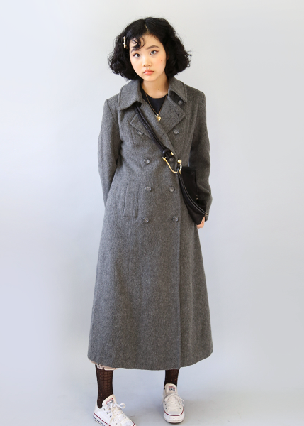 GRAY WOOL LONG COAT