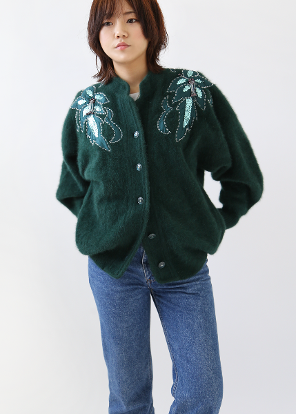 DARK GREEN BEADS CARDIGAN