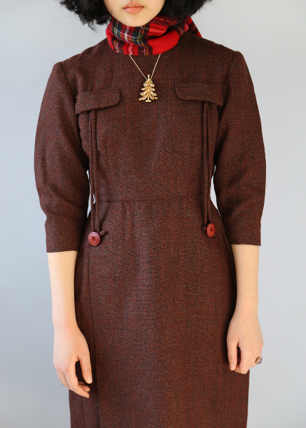 BROWN 2 BUTTONS TAILORED DRESS