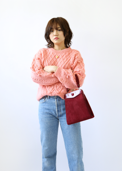 SALMON PINK POMPOM SWEATER