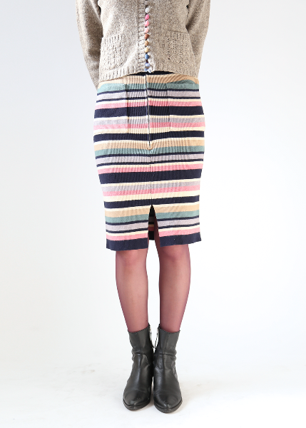 STRIPED KNIT ZIP SKIRT