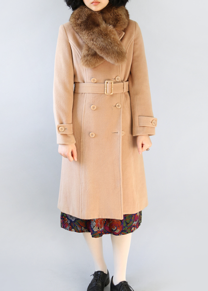BEIGE WOOL LONG COAT