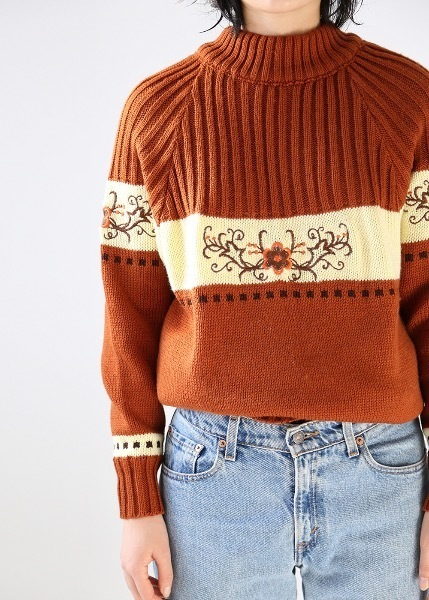 1970'S RIBS KNIT SWEATER