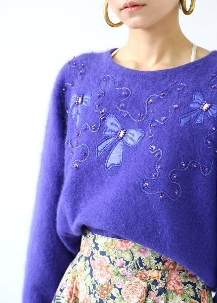 PURPLE BEADES SWEATER