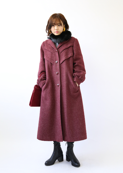 WINE MOHAIR WOOL COAT