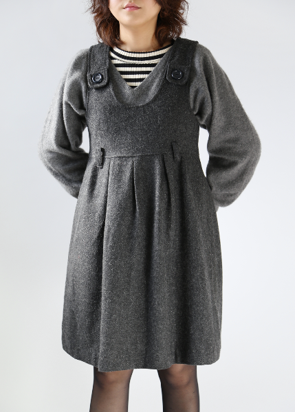 GRAY WOOL PINAFORE DRESS