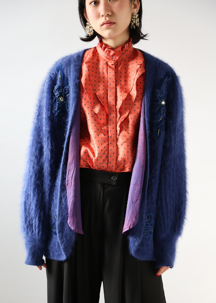 BLUE EMBROIDERED ANGORA CARDIGAN