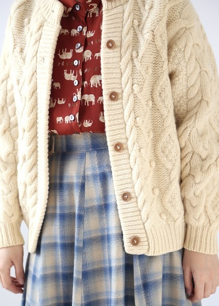 CREAM TWISTED WOOL CARDIGAN