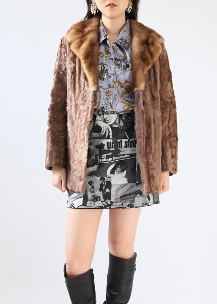 BROWN CALF FUR COAT