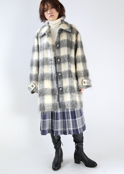 GRAY CHECK MOHAIR COAT