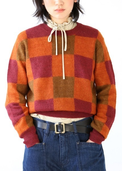 BLOCK ORANGE KNIT