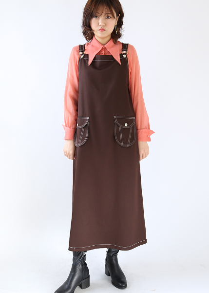 BROWN CASUAL BUCKLED DRESS