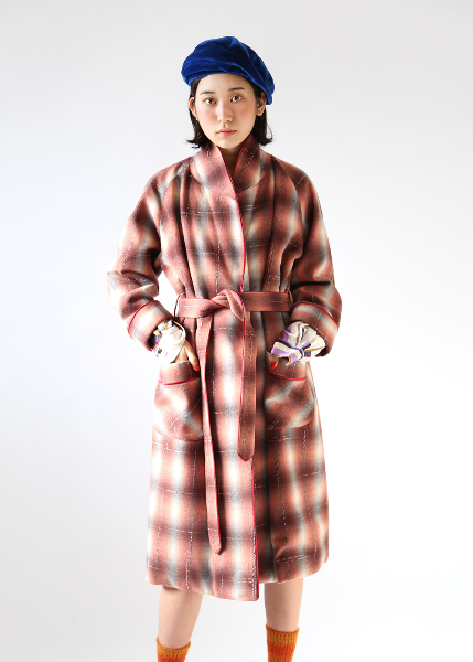 BRICK CHECK WOOL GOWN