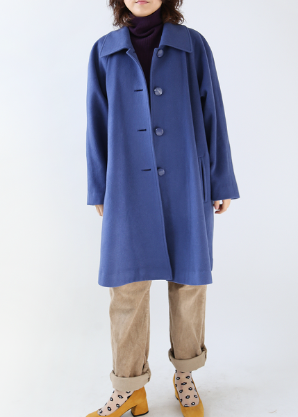 SMOKEY BLUE WOOL COAT