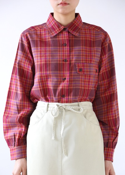 PLUM CHECK COTTON SHIRT