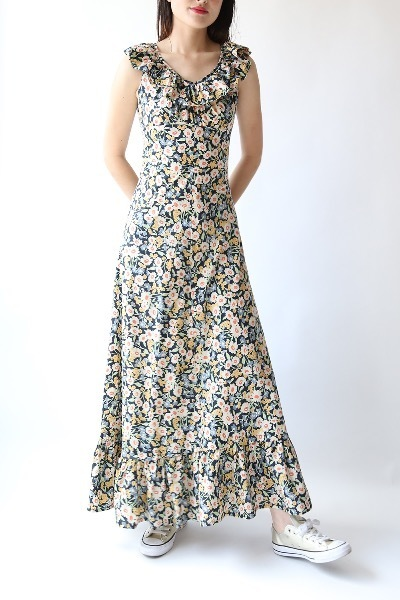 70'S FLOWER GARDEN LONG DRESS