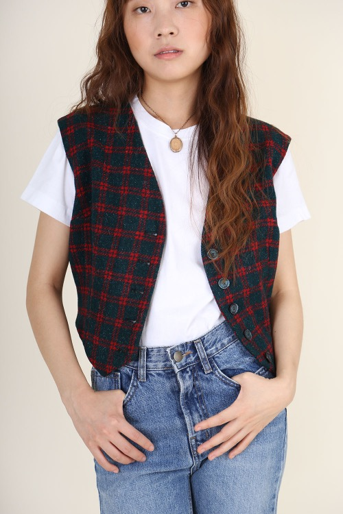 MINI CHECKED WOOL VEST