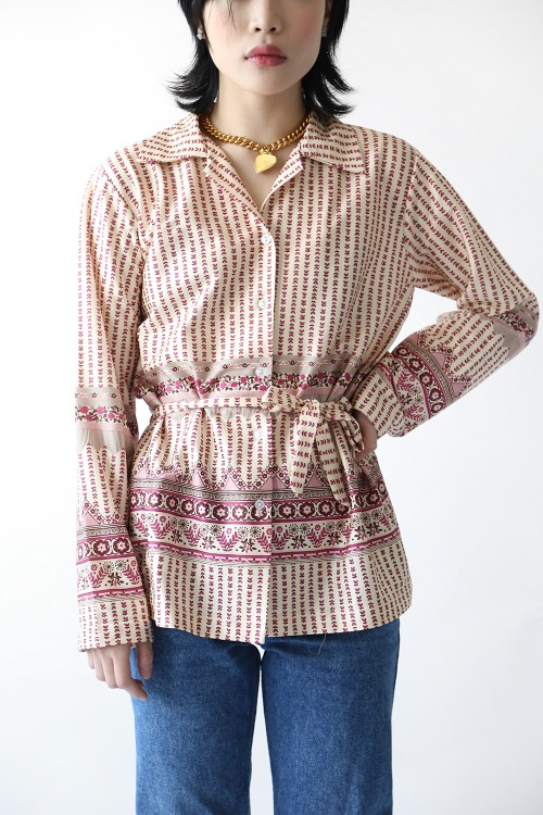 70'S PRINTED BELT BLOUSE