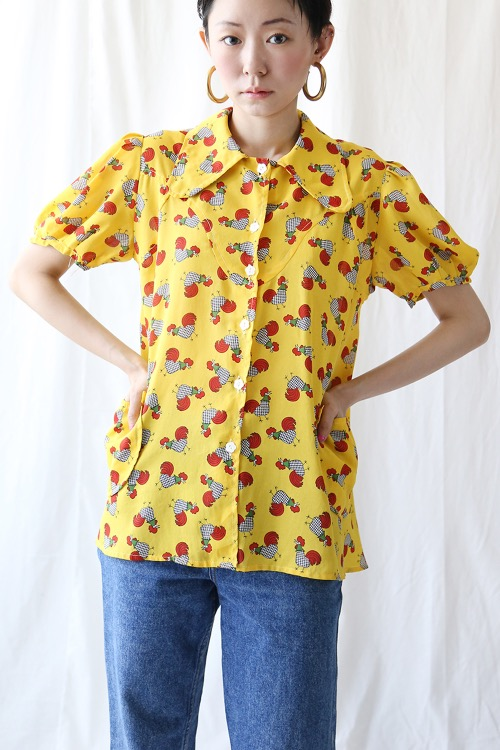 1970'S CHICKEN PRINT BLOUSE