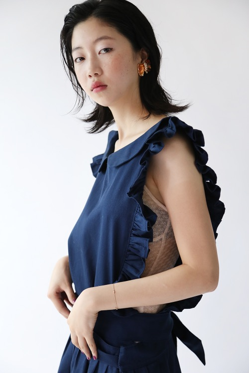NAVY FRILLED APRON DRESS