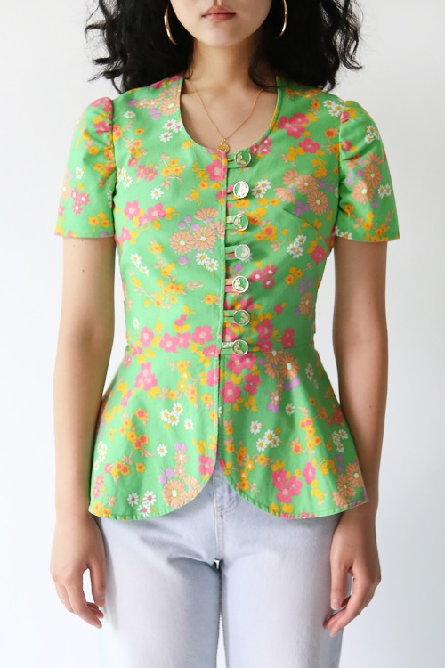 70'S APPLE BELTED BLOUSE