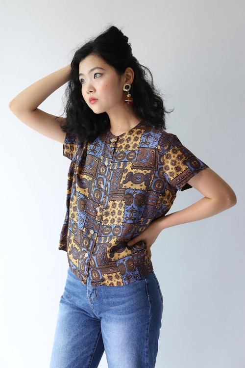 ETHNIC PRINTED ANTIQUE BLOUSE