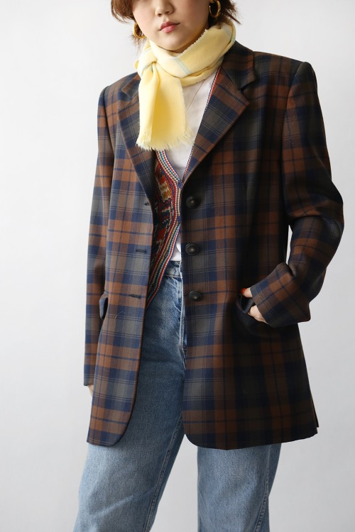 BROWN CHECKED WOOL JACKET