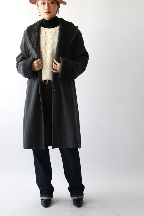 GRAY FLEECE COLLAR COAT
