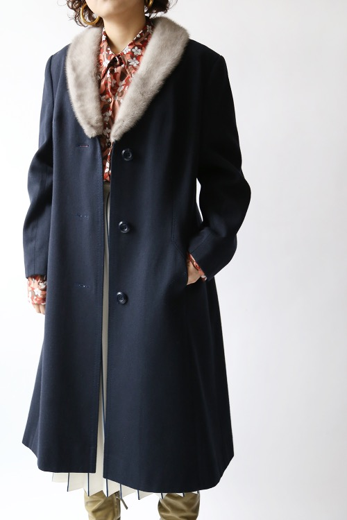 1970'S MINK FUR WOOL COAT