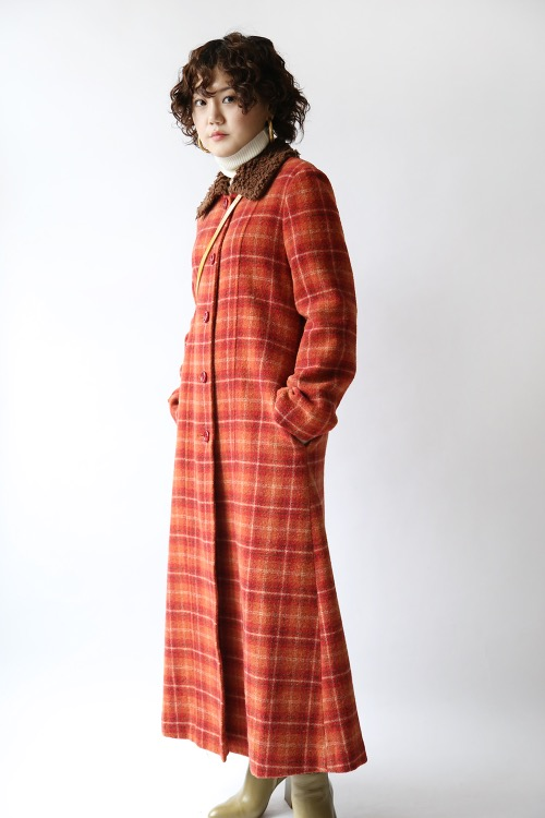 ORANGE CHECKED COAT DRESS