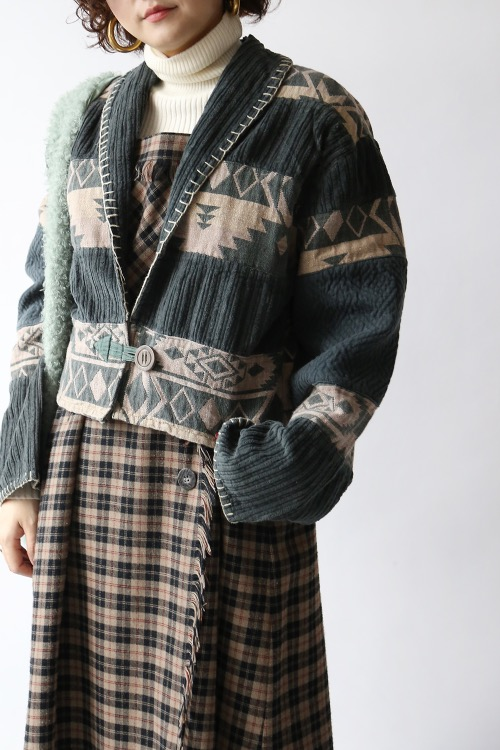 ETHNIC STITCHES CROP JACKET
