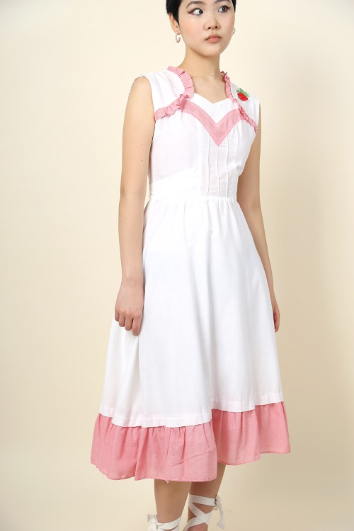 WHITE FRILLED APRON DRESS