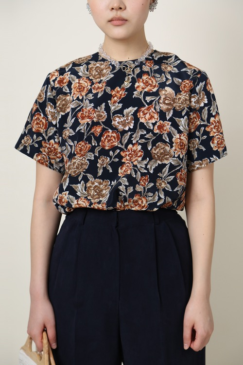 DARK NAVY ROSE BLOUSE