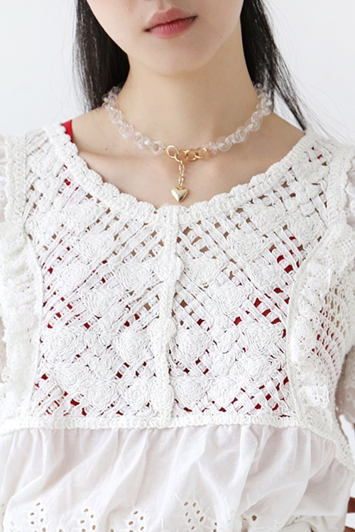 CLEAR HEART CHOKER NECKLACE