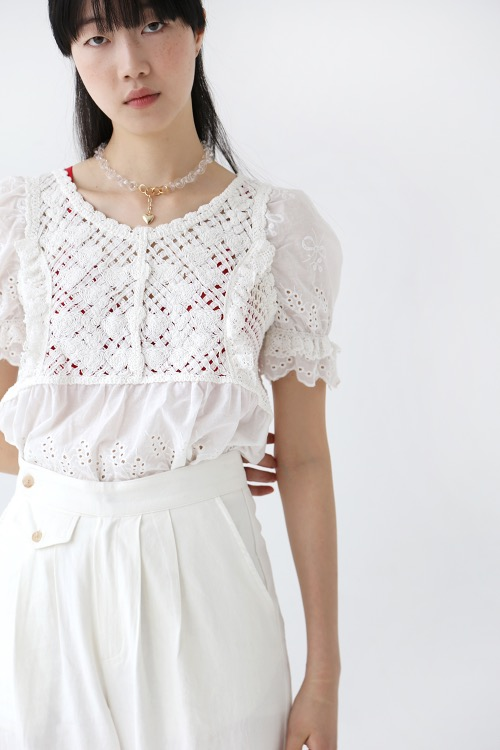 CROCHET KNIT BLOUSE(pure white)