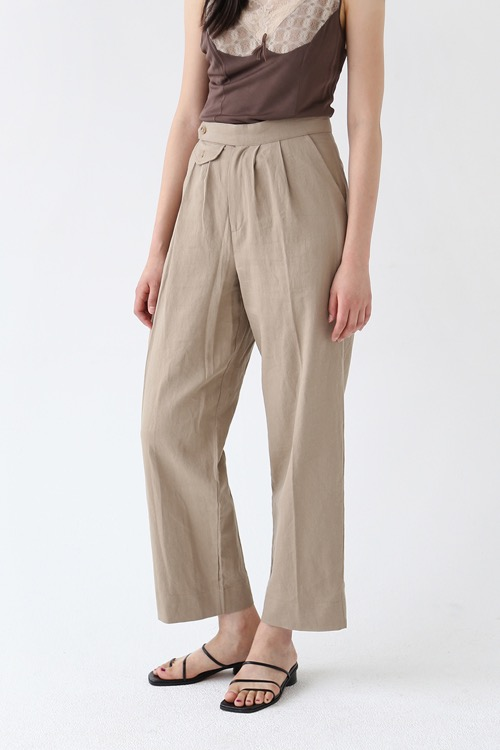 LINEN WIDE TROUSERS (beige)